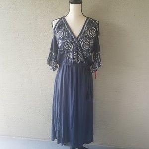NWT! Xhiliration Women's Blue Boho Maxi Dress